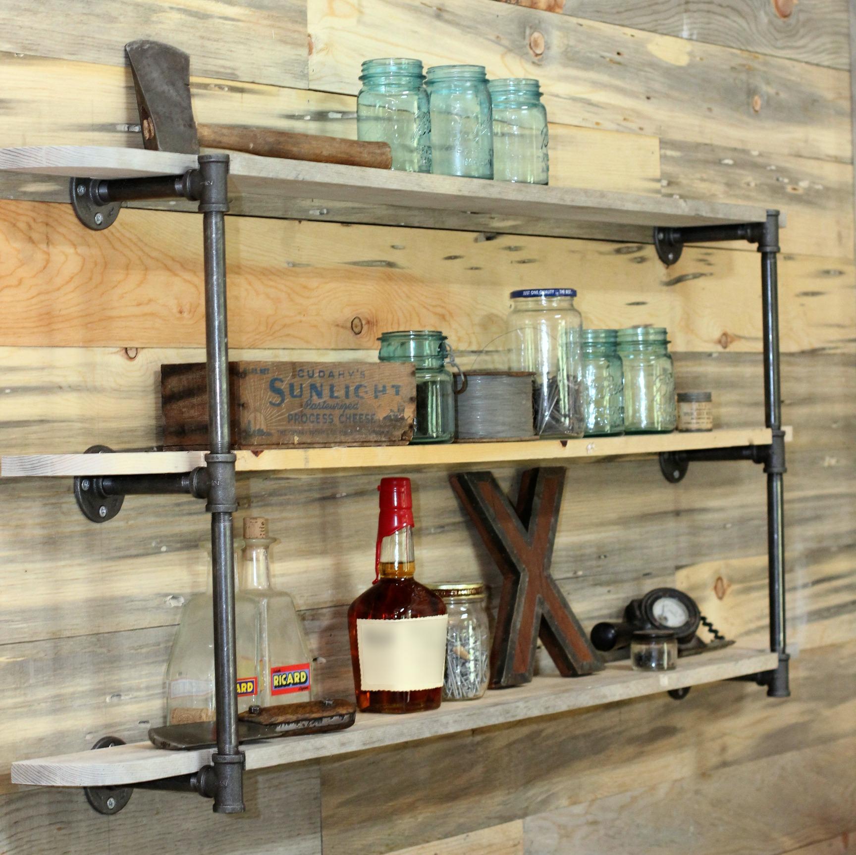 1. Industrial Wall Mounted Shelf via Simphome