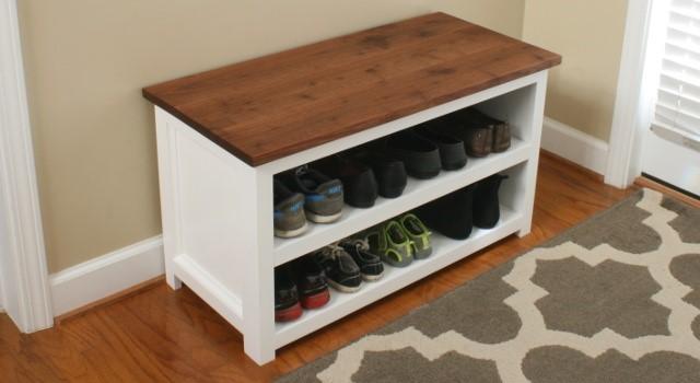 1. White Shoe Bench via Simphome