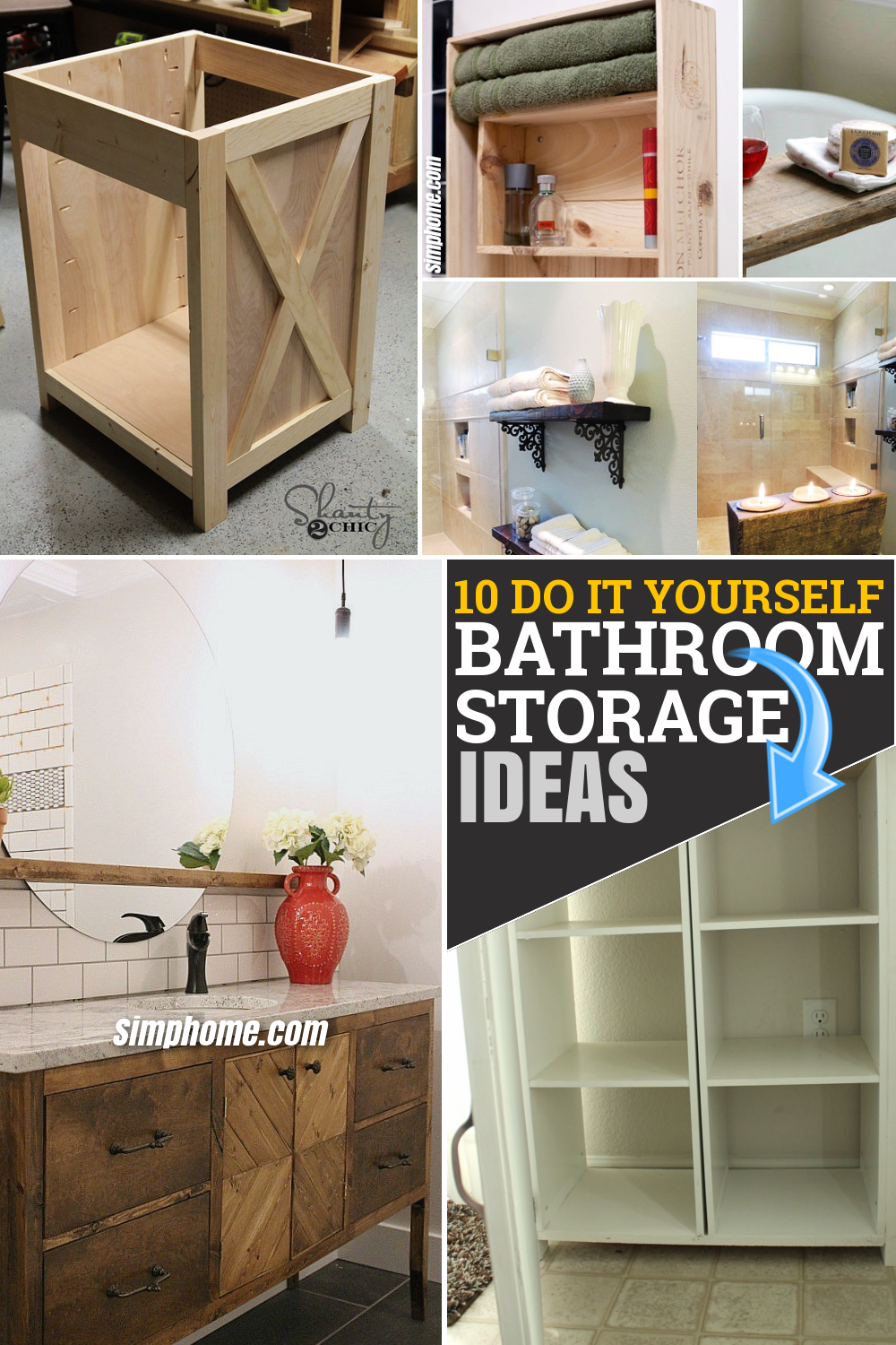 10 DIY Bathroom Storage Furniture via Simphome.com Pinterest Featured Image