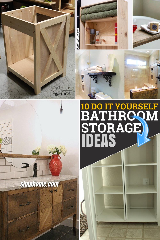 10 DIY Bathroom Storage Furniture via Simphome.com Pinterest Featured Image