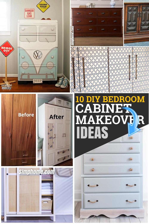 10 DIY Bedroom Cabinet Makeover on a Budget via Simphome.com Feature Pinterest image