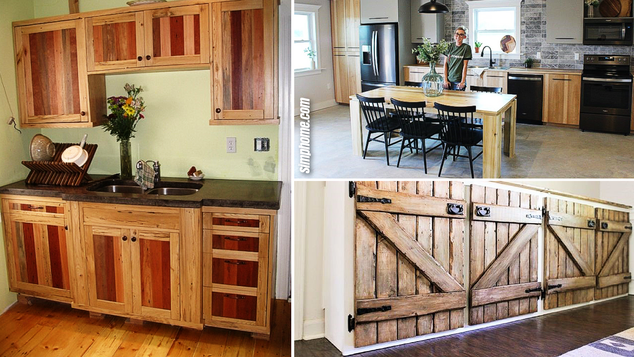 10 DIY Cheap Kitchen Cabinet Projects via Simphome.com Featured Image