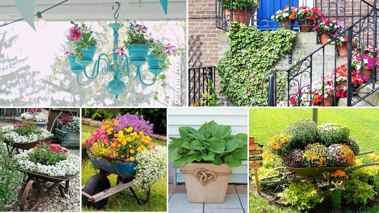 10 DIY Flower Garden Ideas and Containers by Simphome.com Featured Image