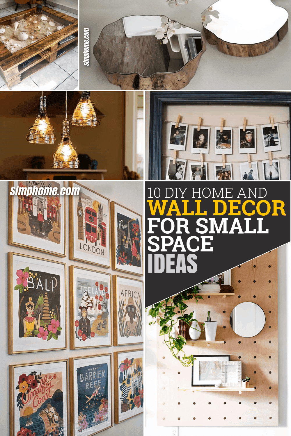10 DIY Home and Wall Decor Small Space Ideas via Simpome.com Featured Image long