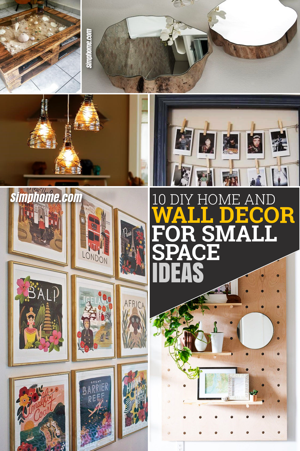 10 DIY Home and Wall Decor Small Space Ideas via Simpome.com Featured Pinterest