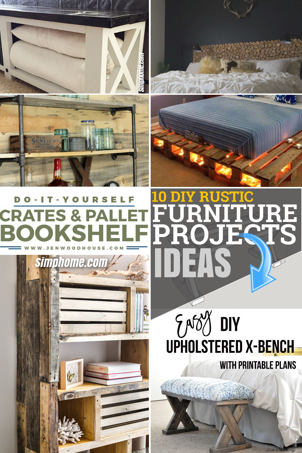 10 DIY Rustic Furniture Projects for Your Bedroom via Simphome.com Pinterest Featured Image
