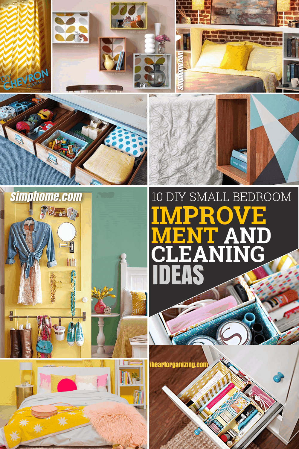 10 DIY Small Bedroom Improvement and Cleaning Ideas via Simphome Pinterest featured image 1