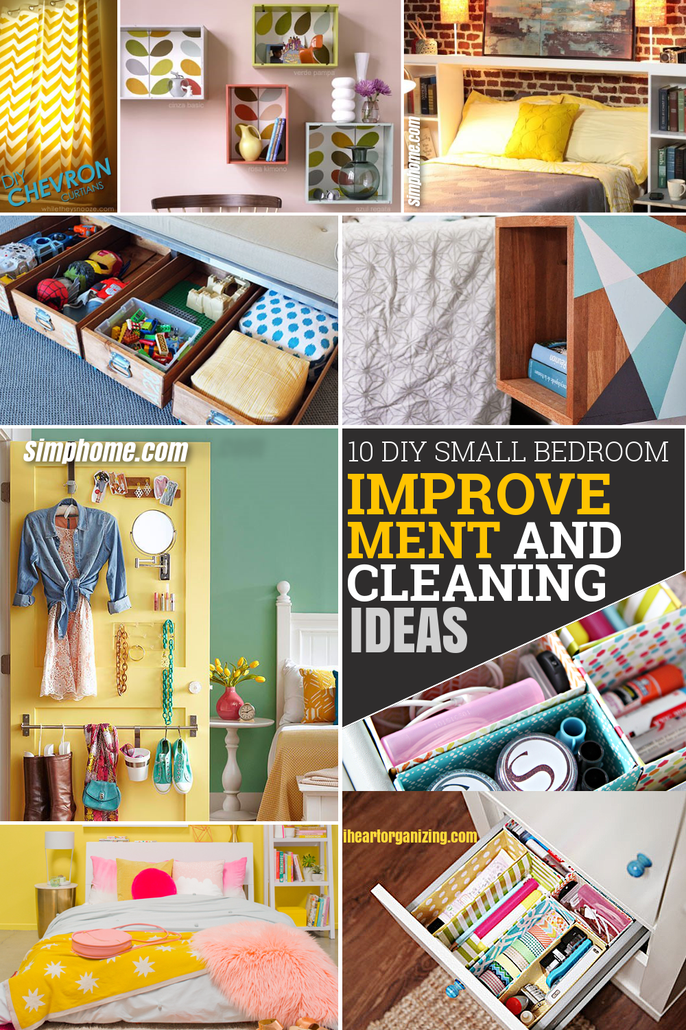 10 DIY Small Bedroom Improvement and Cleaning Ideas via Simphome Pinterest featured image
