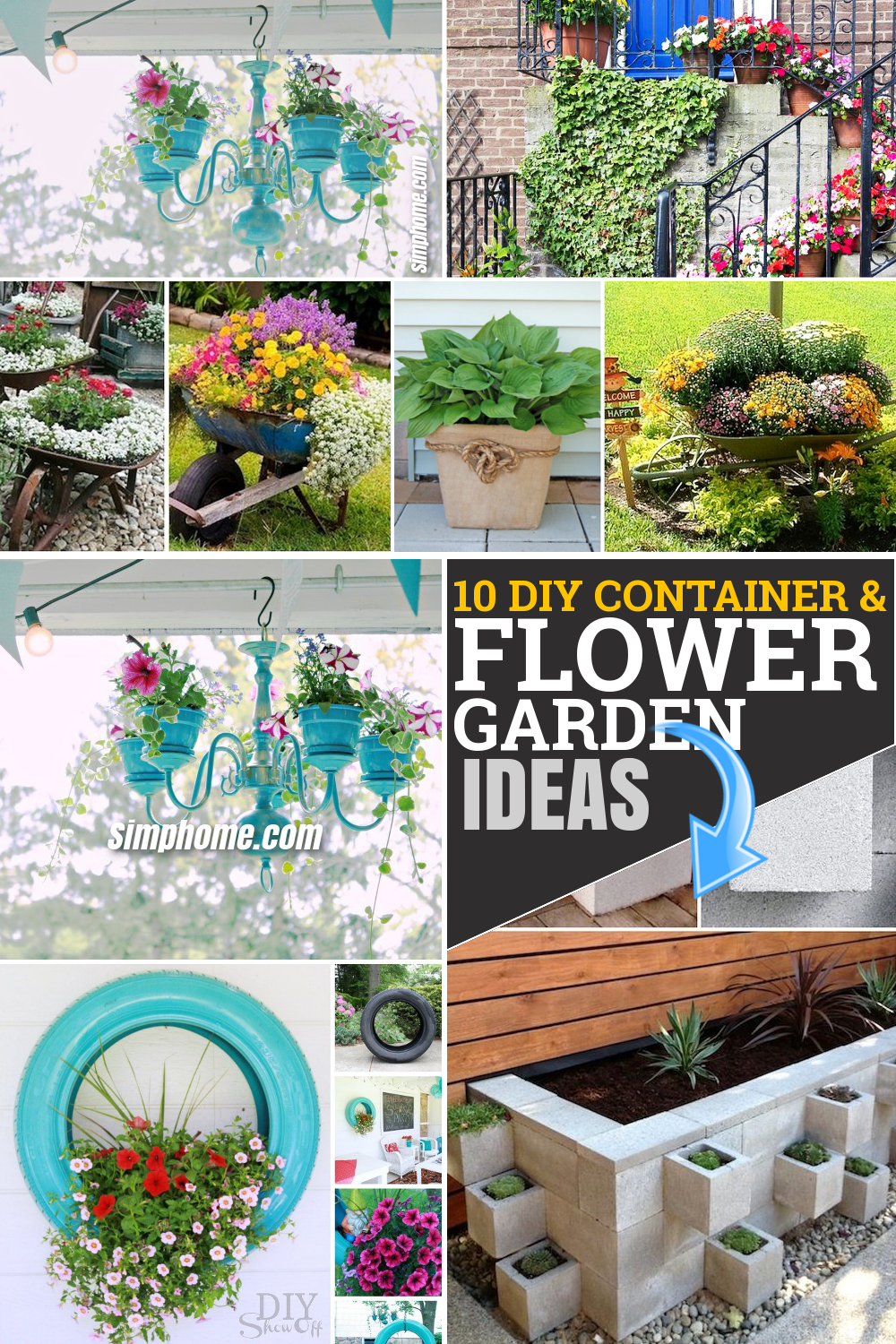 10 DIY flower garden ideas and containers via Simphome.com Featured pinterest image