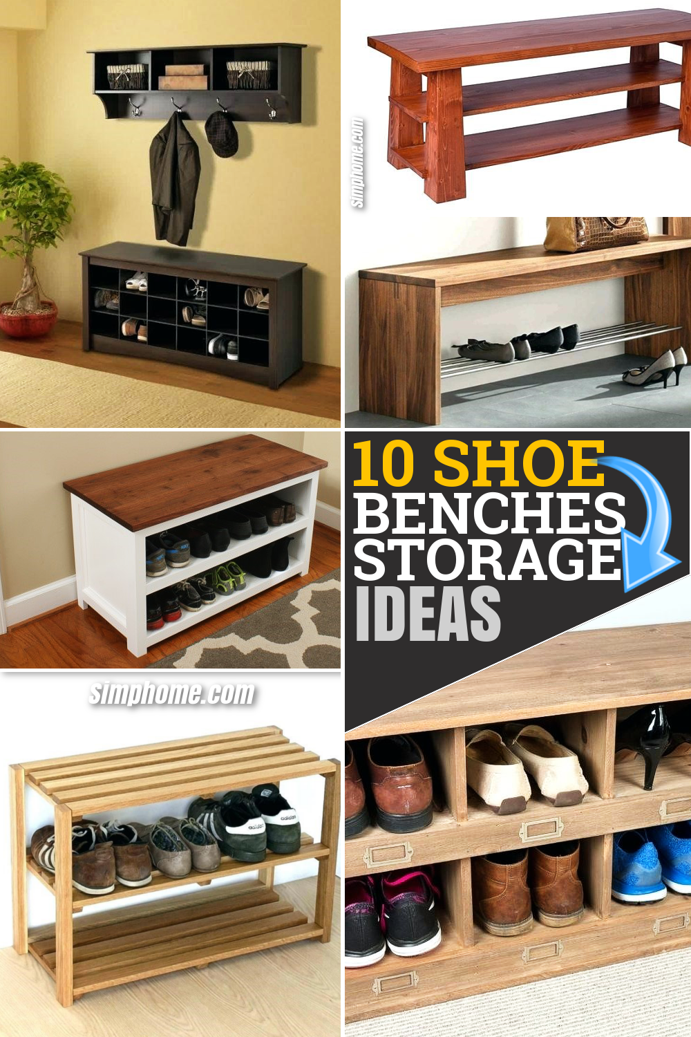 10 Efficient Shoe Bench Storage Ideas to Untie the Mess via Simphome.com Pinterest Featured Image