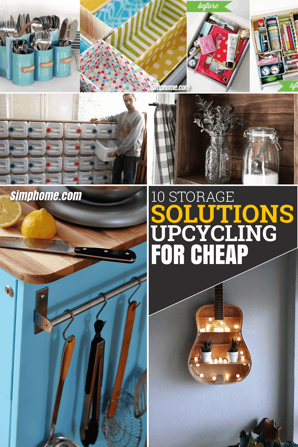 10 Storage Solution and Upcycling Ideas for Cheap via Simphome.com Featured Pinterest 1