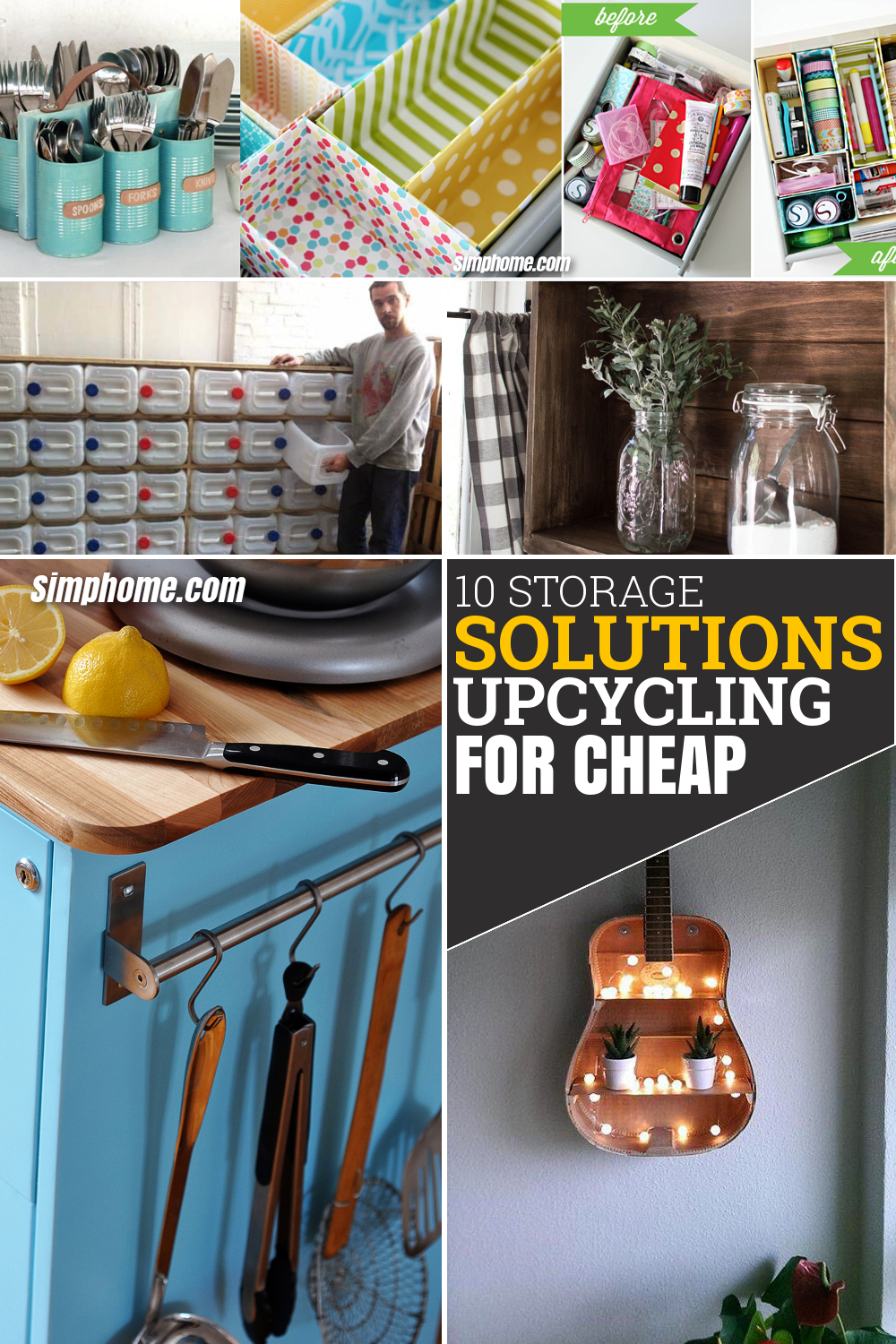 10 Storage Solution and Upcycling Ideas for Cheap via Simphome.com Featured Pinterest