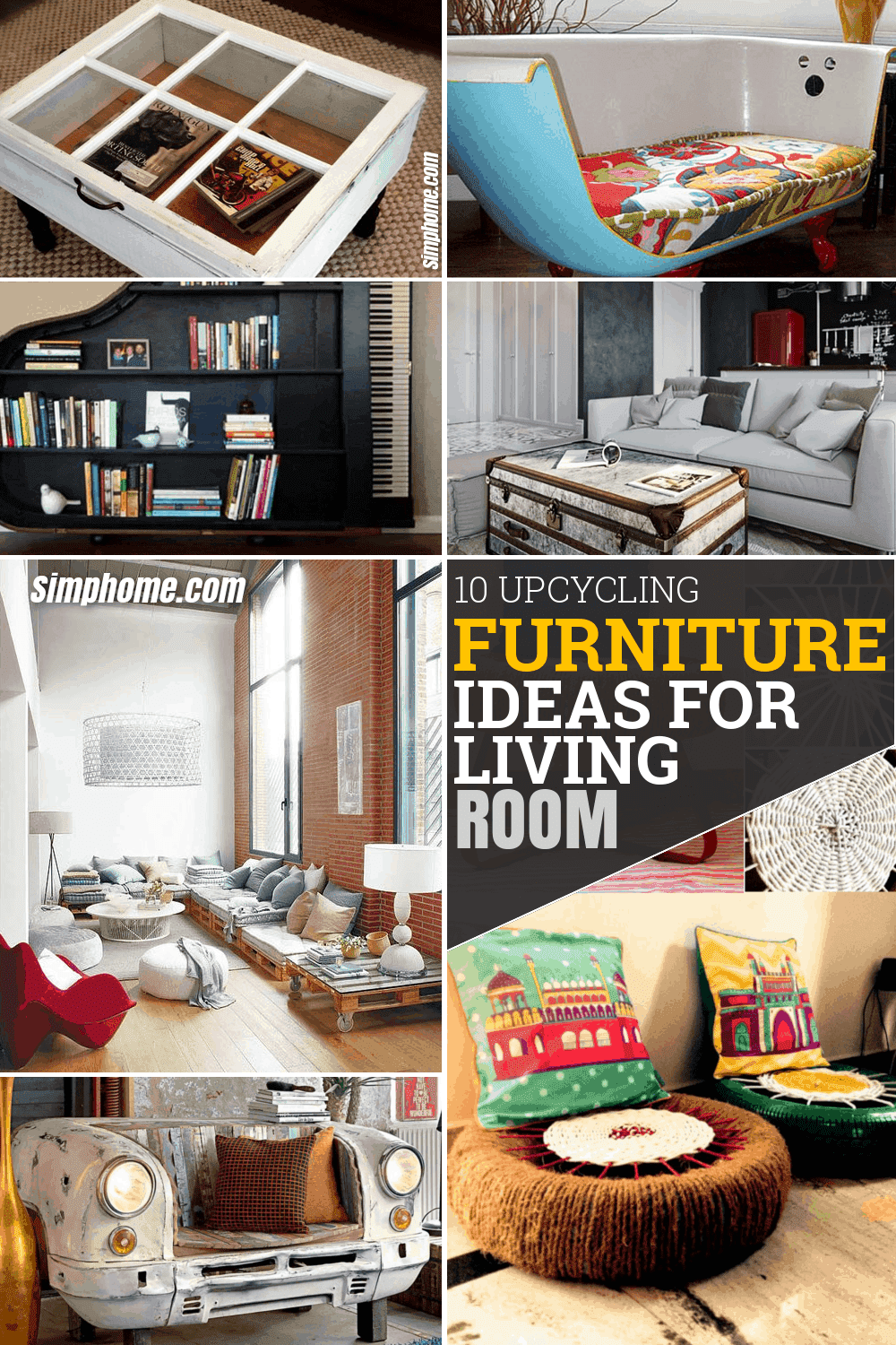10 Upcycling Furniture Ideas for a Living Room via Simphome.com Featured Pinterest Image 1