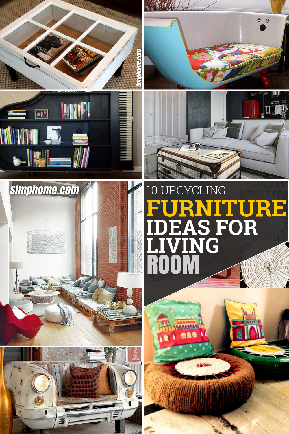 10 Upcycling Furniture Ideas for a Living Room via Simphome.com Featured Pinterest Image