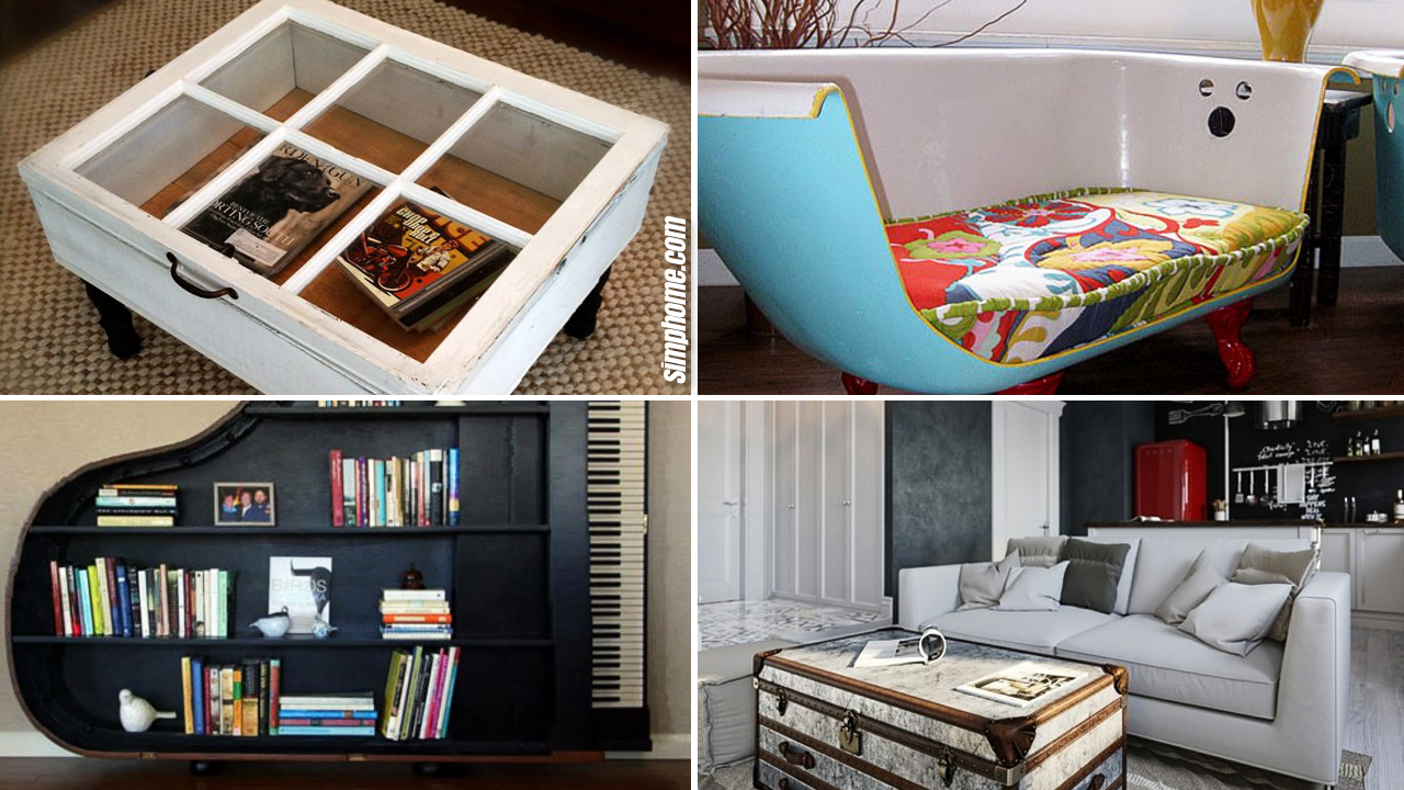 10 Upcycling Furniture Ideas for a Living Room via Simphome.com Featured image