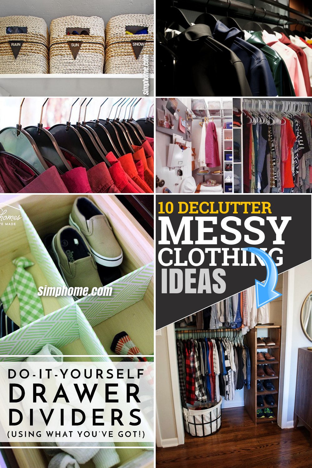 10 declutter messy closet ideas via Simphome.com Featured Pinterest Image