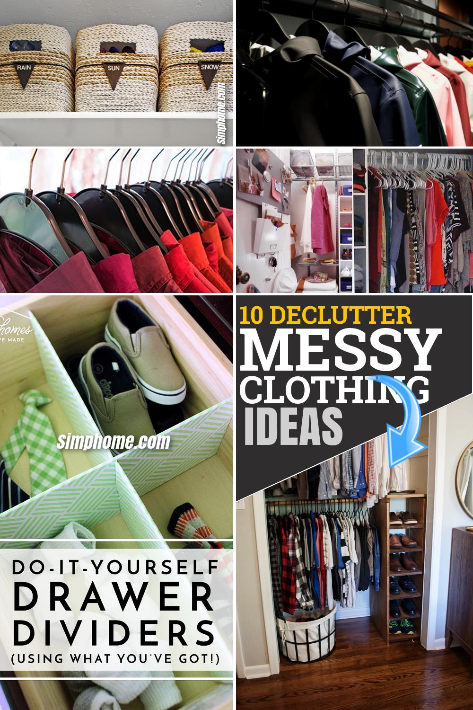 10 declutter messy closet ideas via Simphome.com Featured Pinterest Image
