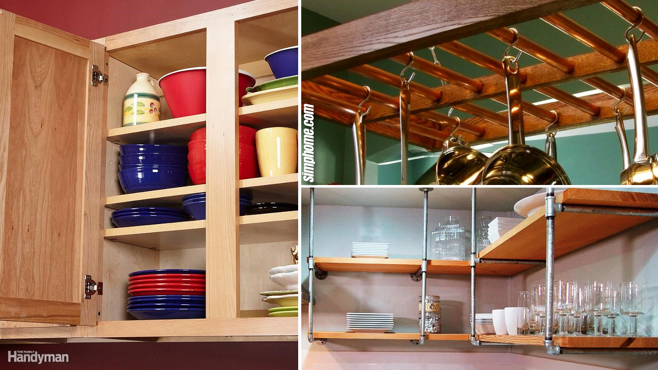 10 low cost DIY kitchen improvement storage ideas via Simphome.com Featured image