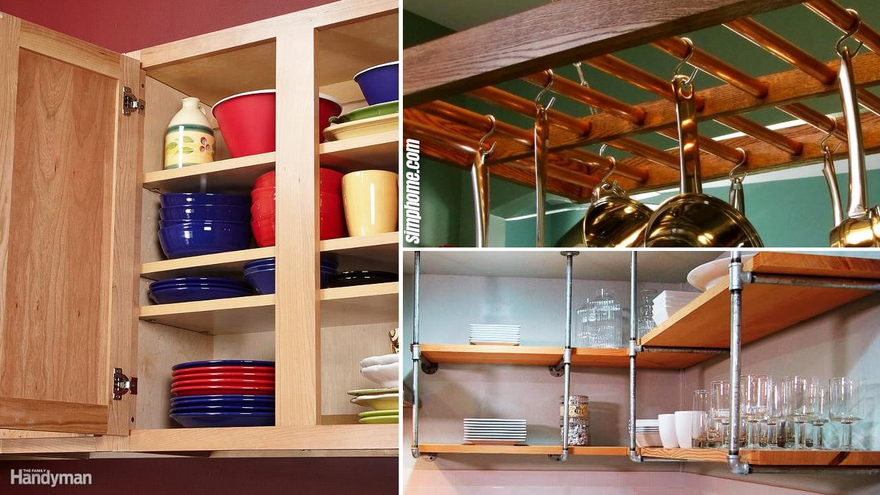 10 low cost DIY kitchen improvement storage ideas via Simphome.com Featured image