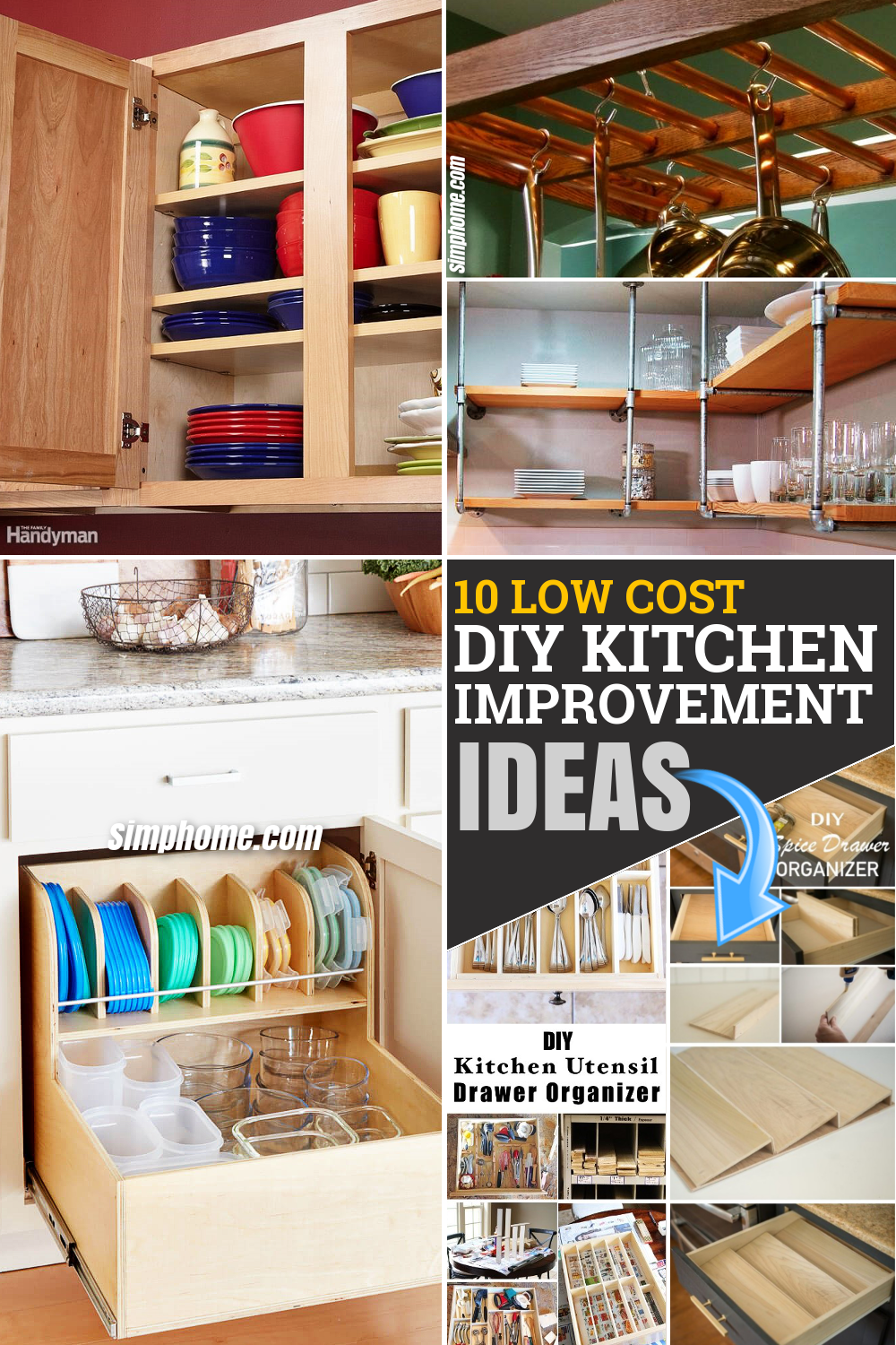 10 low cost DIY kitchen improvement storage ideas via Simphome.com Pinterest Featured Image