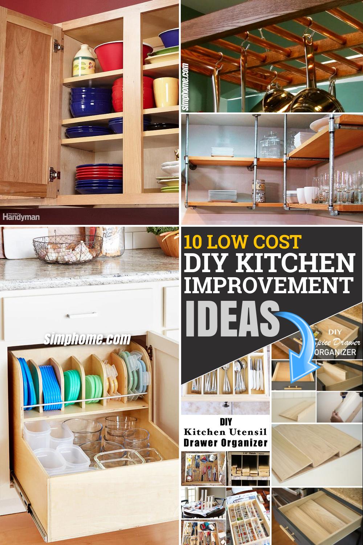 10 low cost DIY kitchen improvement storage ideas via Simphome.com Pinterest Featured Image