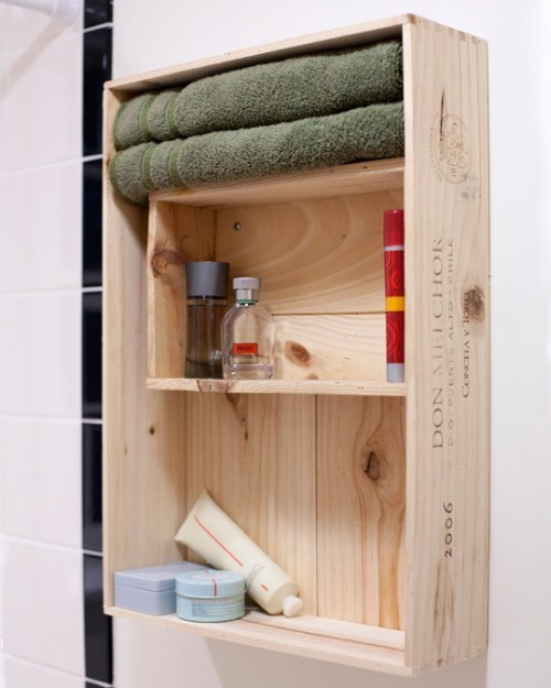 10. Wooden Crate Bathroom Storage Cabinet via Simphome