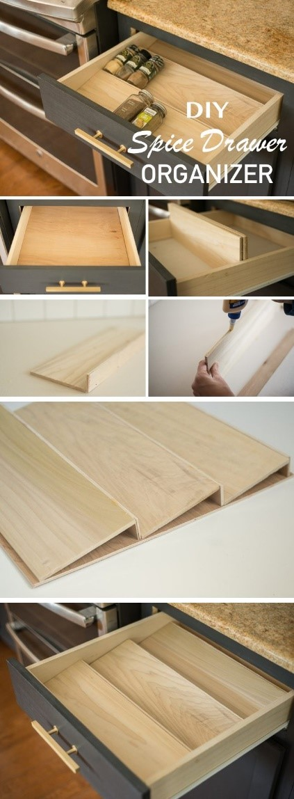2. DIY Spice Drawer Organizer via Simphome