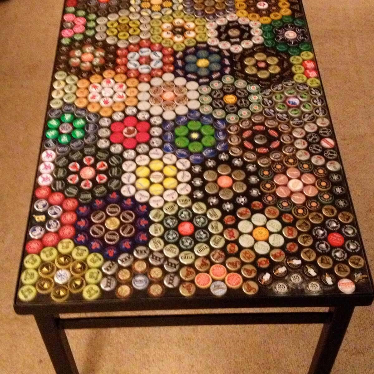 2. Dress Up Your Coffee Table with Bottle Caps via Simphome