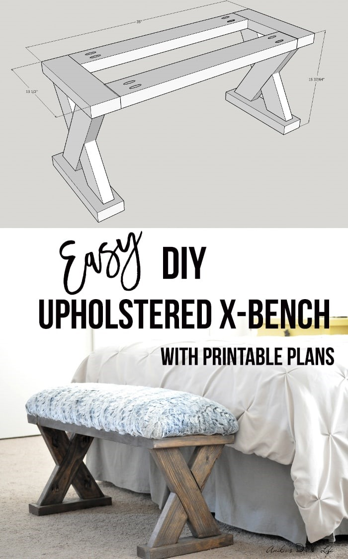 3. Upholstered X Bench via Simphome