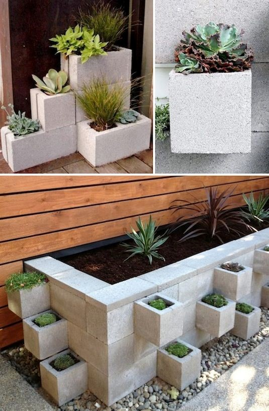 4. Cinder Block Planters via Simphome