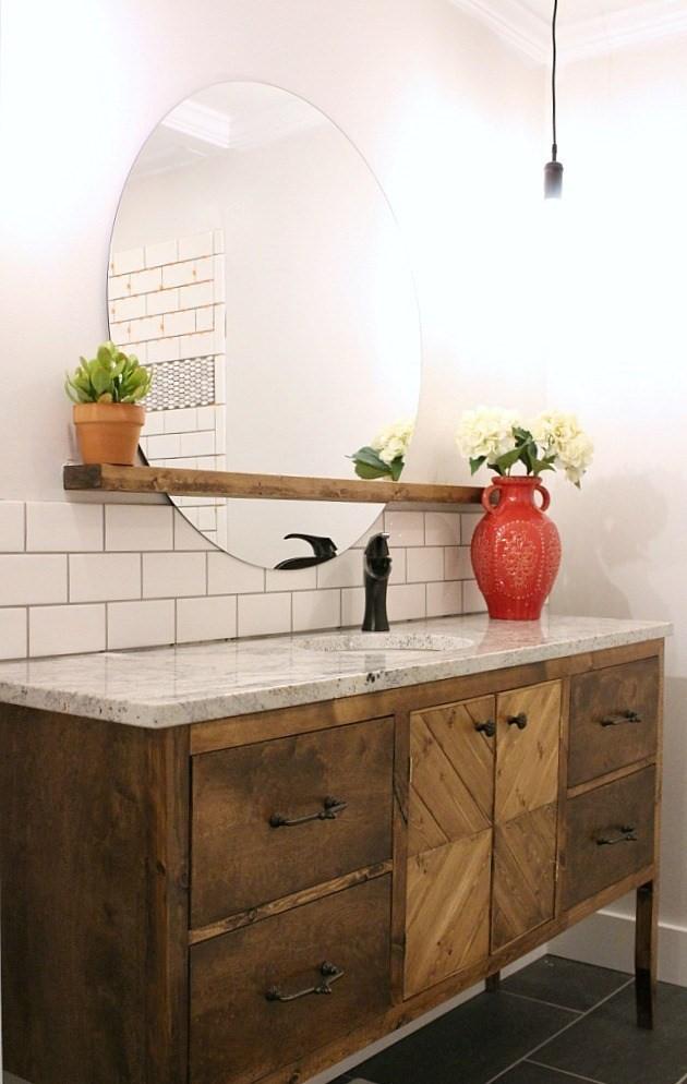 4. Rustic Bathroom Vanity via Simphome