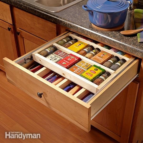 4. Two Tier Drawer Spice Rack via Simphome
