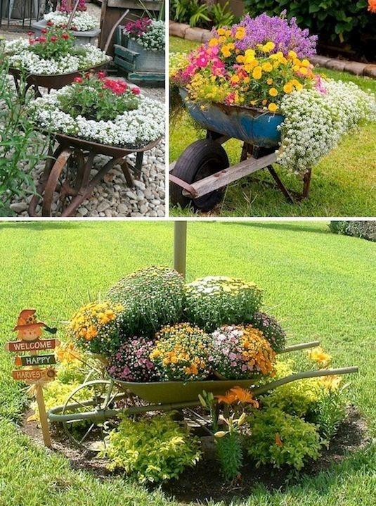 5. Wheelbarrow Planter via Simphome