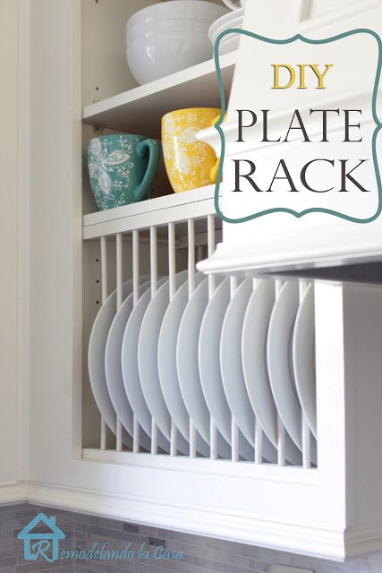 7. Kitchen Cabinets with Plate Rack via Simphome