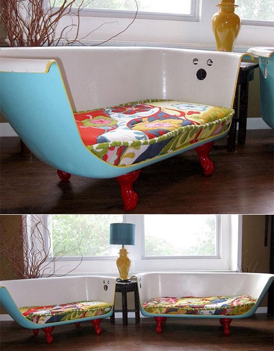 8. Transform a Bathtub into a Couch via Simphome