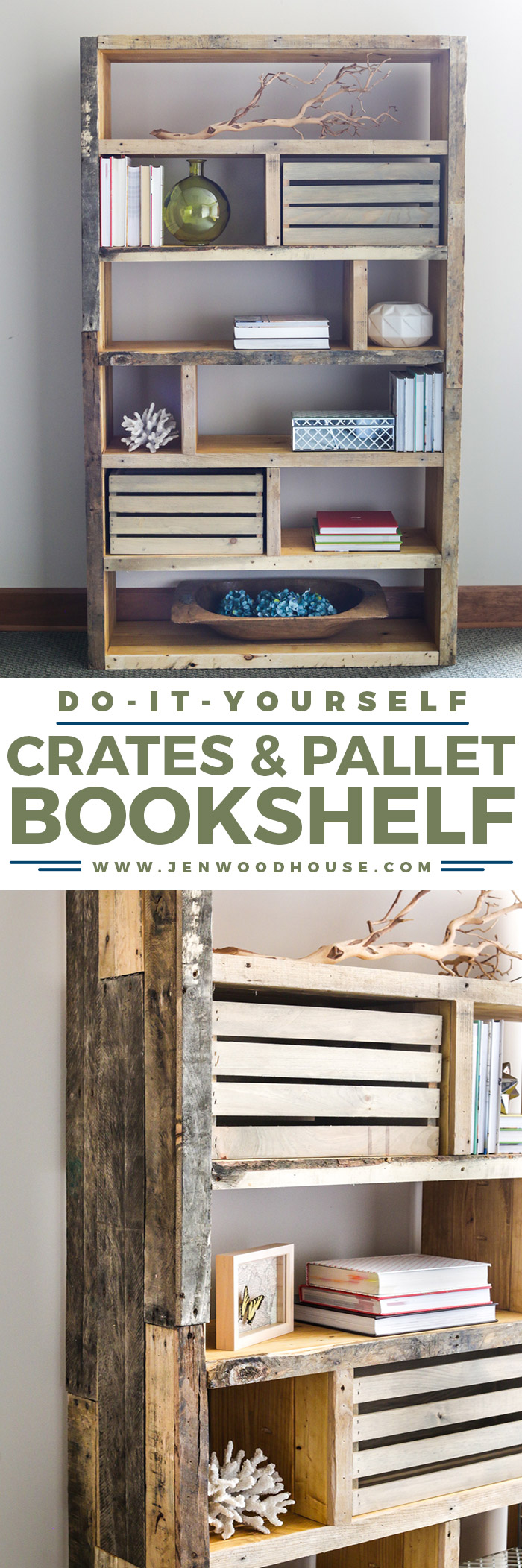 9. Bookshelf from Reclaimed Wood via Simphome