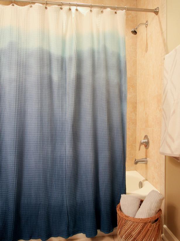 1. Dip Dyed Shower Curtain via Simphome.com