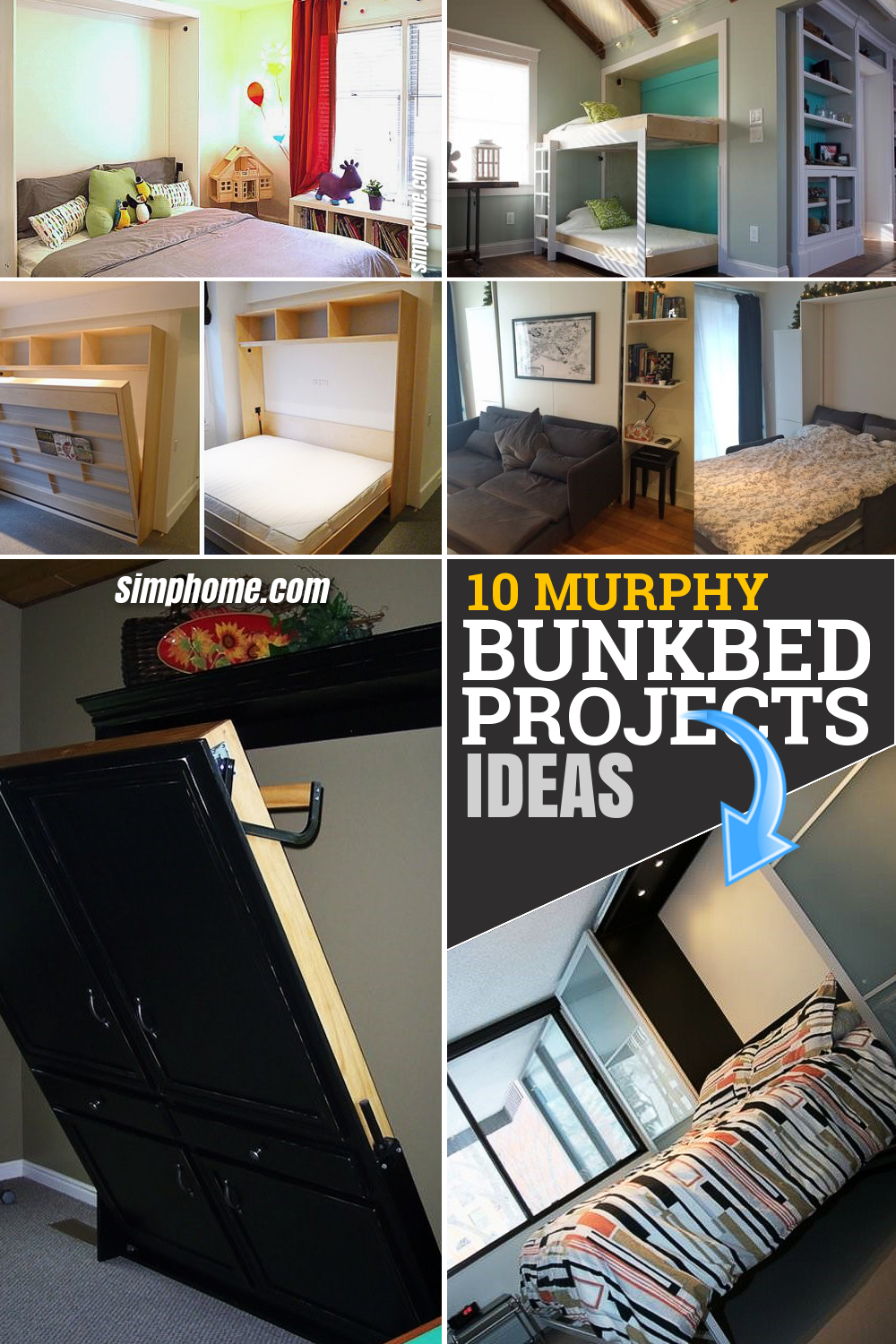 10 DIY Murphy Bed project ideas via Simphome.com Featured Pintrerest Images