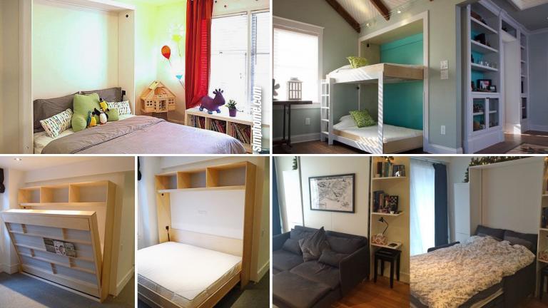 10 DIY Murphy Bed project ideas via Simphome.com Featured image
