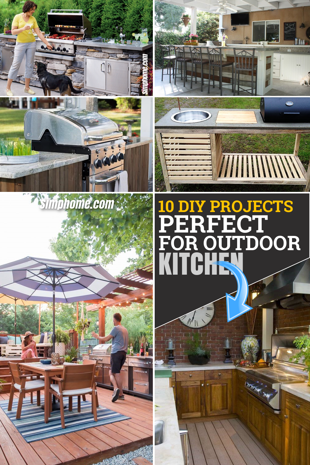 10 DIY Projects Perfect for Your Outdoor Kitchen via Simphome.com Featured Pinterest Image