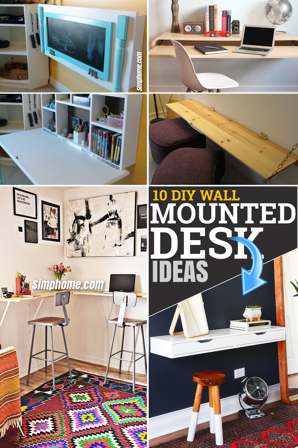 10 DIY Wall Mounted Desk Ideas for a Perfect Storage Solution via Simphome.com Featured Pinterest Image