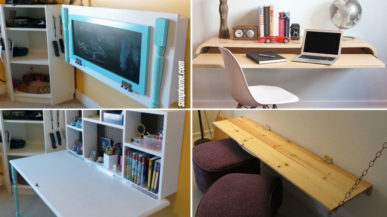 10 DIY Wall Mounted Desk Ideas for a Perfect Storage Solution via Simphome.com