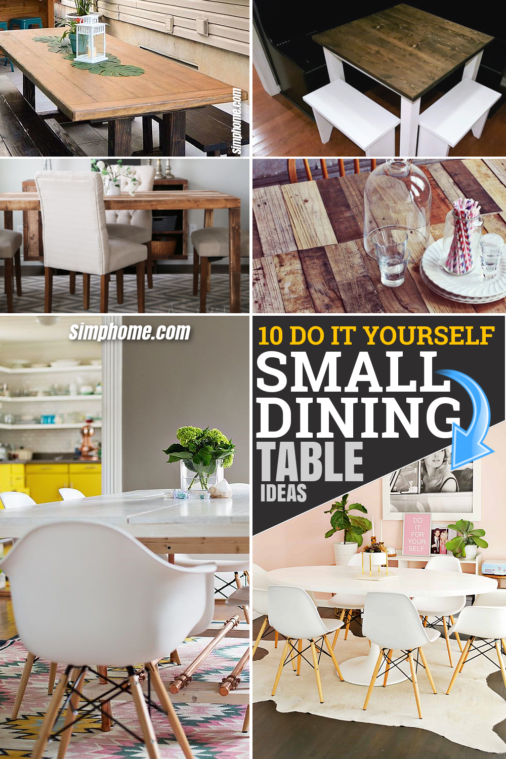 10 Small Dining Table Ideas BY SIMPHOME.COM and DIY Pinterest Featured Image