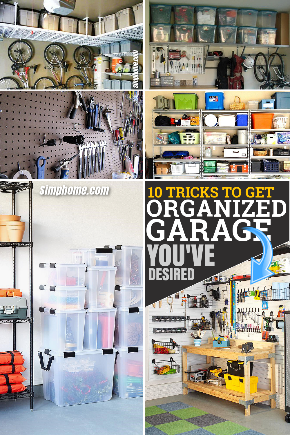 10 TRICKS By SIMPHOME.COM TO GET ORGANIZED GARAGE YOU DESIRE Pinterest Featured Image