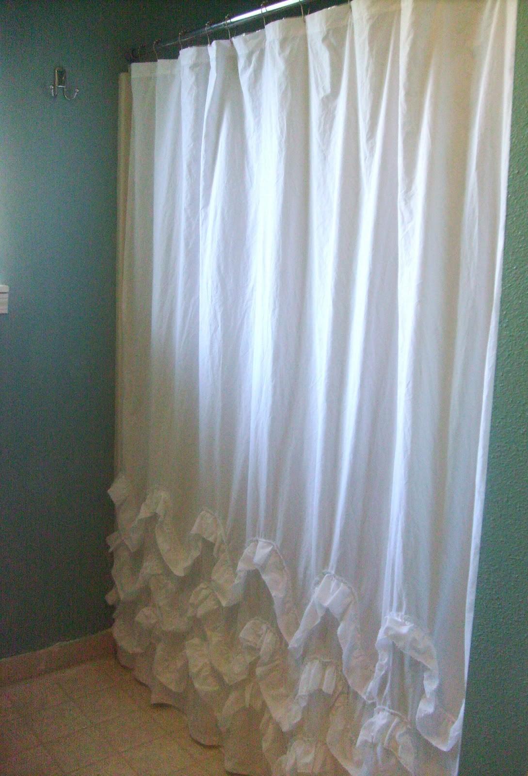 10. Simple Ruffled Shower Curtain via Simphome