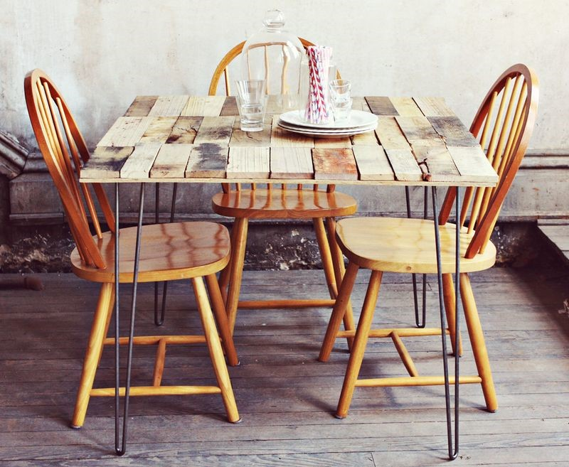 2. DIY Wooden Pallet Dining Table with Hairpin Legs via Simphome