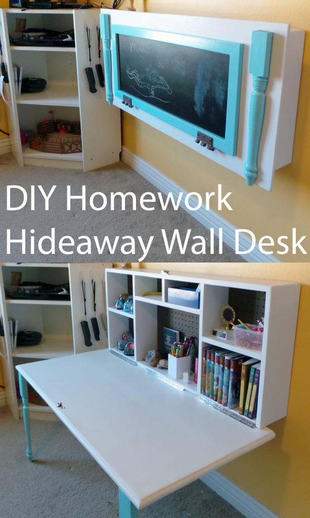 3. Homework Hideaway Wall Desk via Simphome