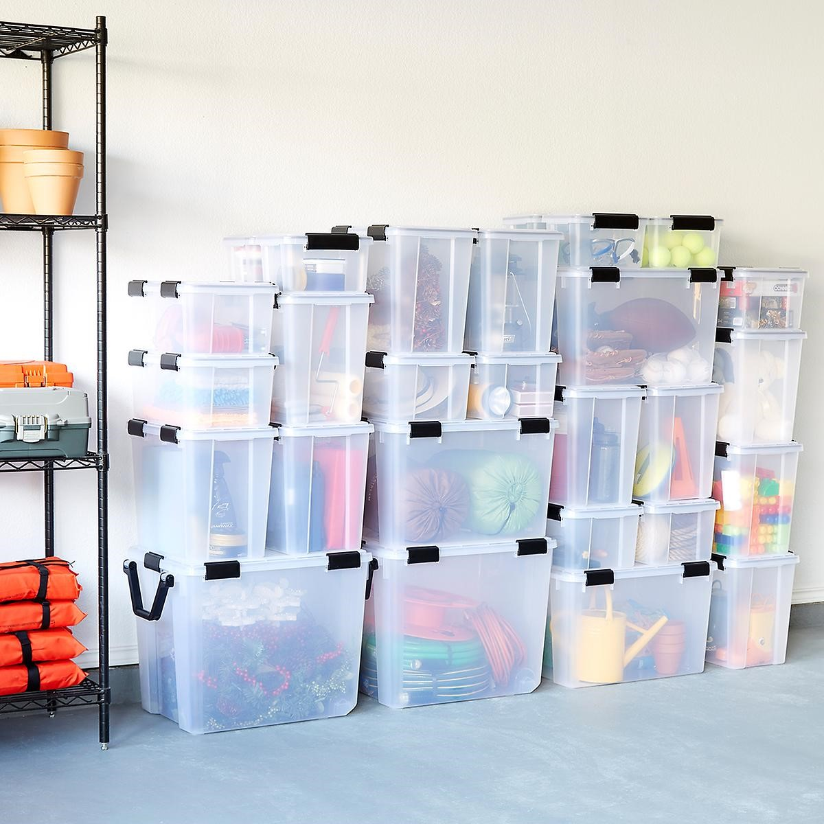 4. Get Organized with Plastic Containers via Simphome