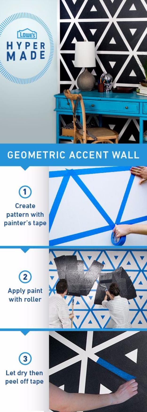 5. DIY Geometric Wall via Simphome