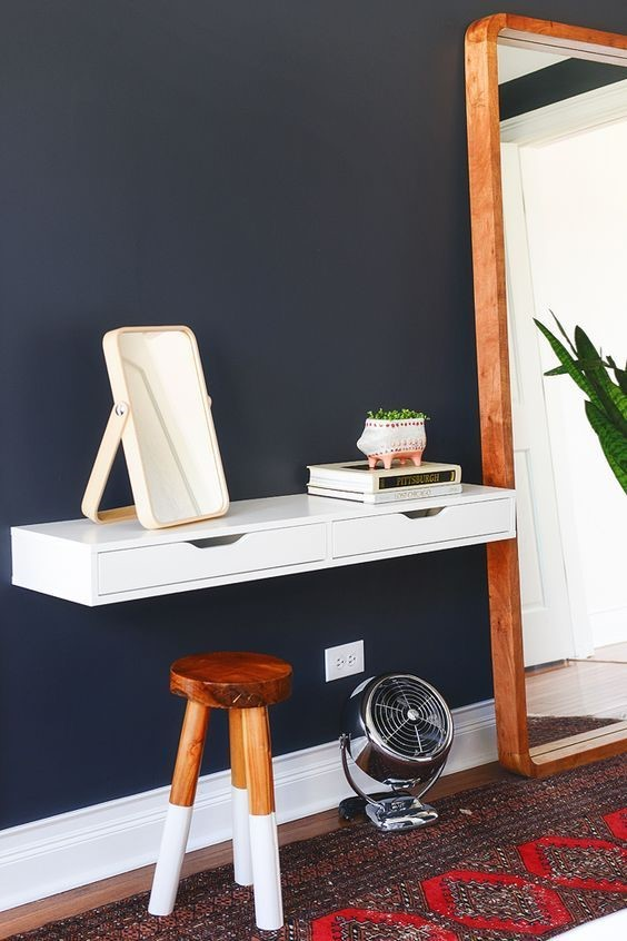 5. Wall Mounted Desk with Drawers via Simphome